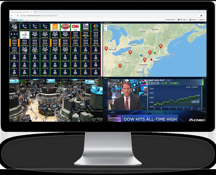 VCOM webrtc control panel on desktop