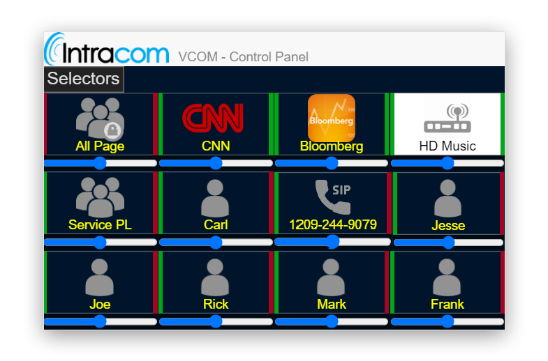Intracom vcom Matrix intercom interface on devices