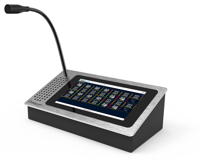 VCOM Desktop Control Panel hardware touch panel with gooseneck mic and integrated speaker