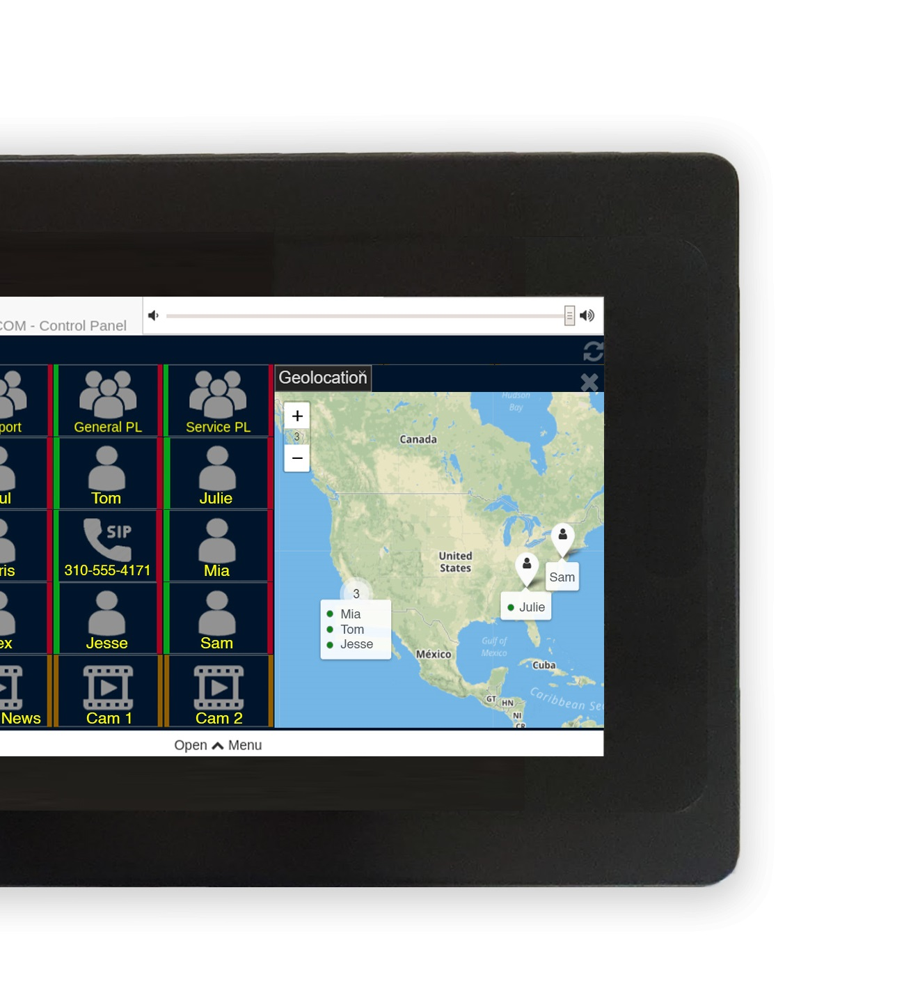 VCOM Desktop Control Panel D405 showing geolocation map with user locations