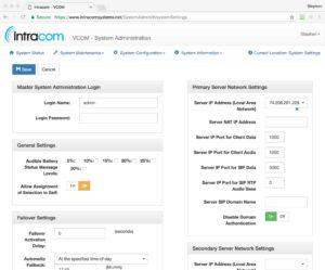 VCOM System Administrator App Screen
