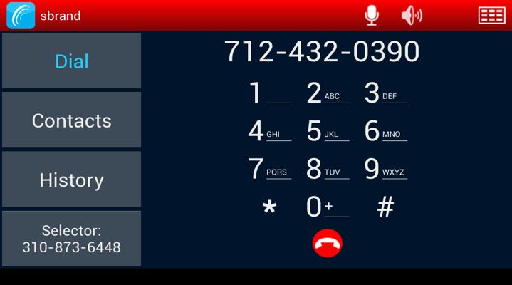 screenshot of the dialpad on the VCOM comscreen