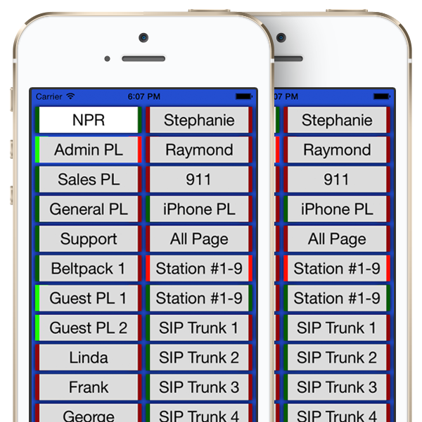 VCOM Wireless Intercom System App on iPhones