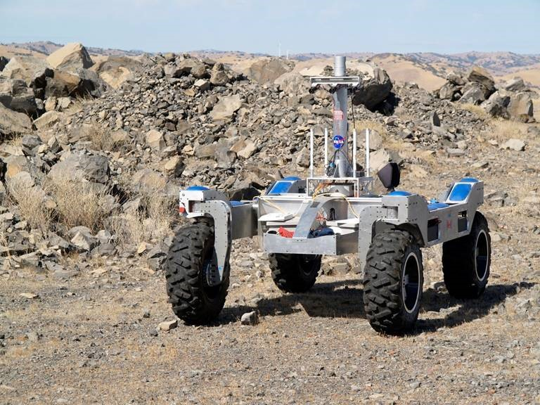 The Intelligent Robotics Group (IRG) conducted an engineering field test with the K-Rex rover during the first week of October 2012. The field test took place at the Basalt Hills quarry, California. Image credit: NASA; Source: https://ti.arc.nasa.gov/m/groups/intelligent-robotics/krex/BH2012_FrontView.jpg