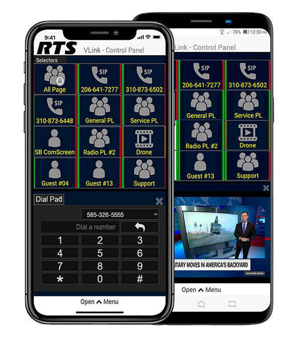 VLink Wireless Broadcast Intercom App Interface