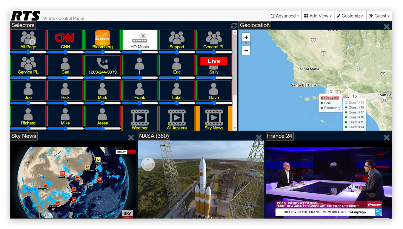 VLink WebRTC Control Panel with comms, video and geopositioning