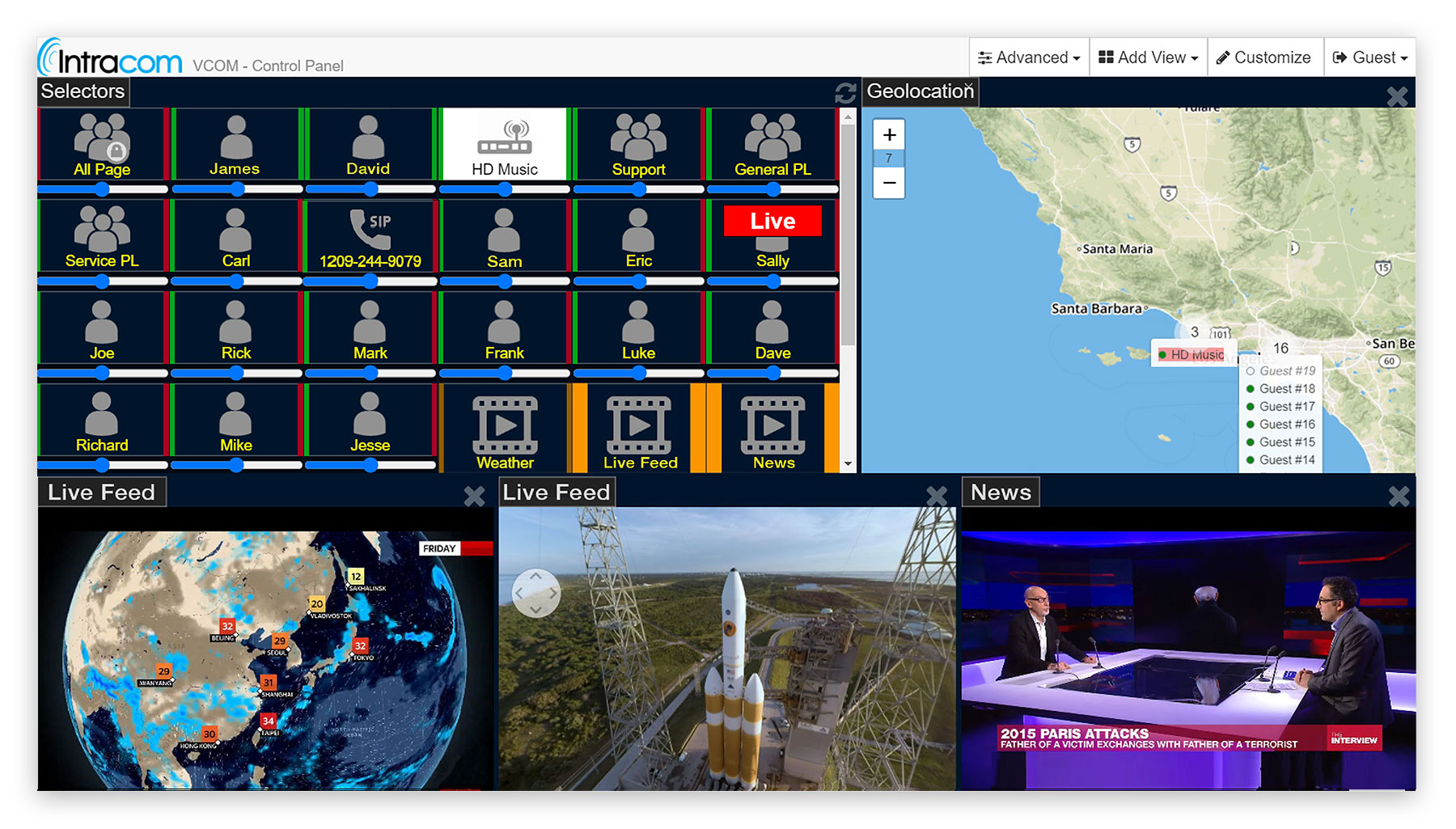 VCOM WebRTC Control Panel with comms, video and geopositioning